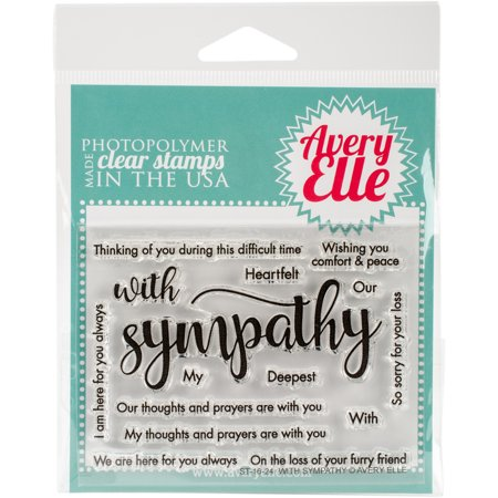 "Avery Elle Clear Stamp Set 4""X3"" With Sympathy"