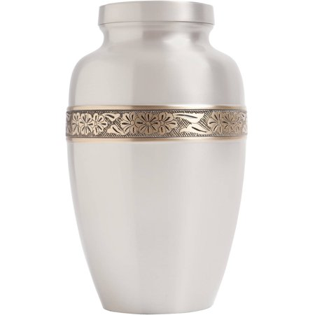 Wildflowers Funeral Urn, Cremation Urn for Human Ashes, Hand Made in Brass and Hand Engraved, Large Size: Fits the Cremated Remains of Adults, Silver