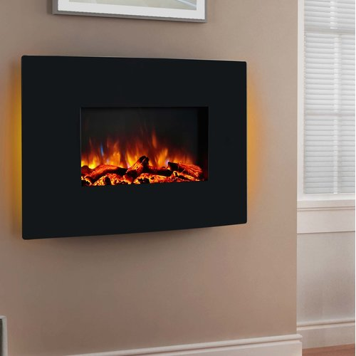 Orren Ellis Coss Wall Mounted Curved Panel Electric Fireplace