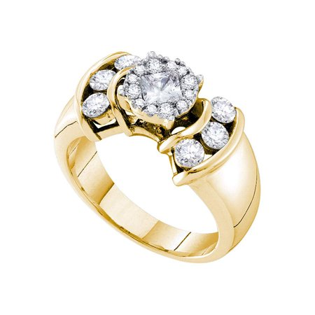 14kt Yellow Gold Princess Round Diamond Soleil Cluster Bridal Wedding Engagement Ring 1.00 Cttw