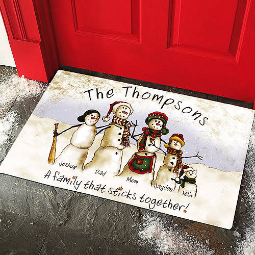 Personalized Snowmen Stick Family Doormat, Multiple Sizes