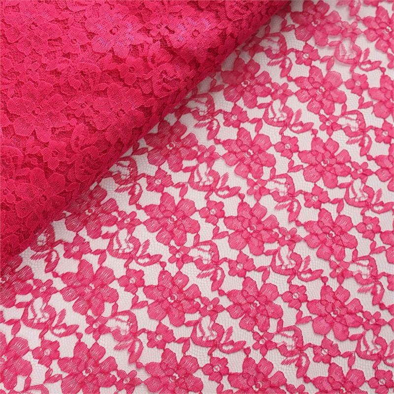 54 inch x 15 yards Lace Fabric Bolt - Fuschia