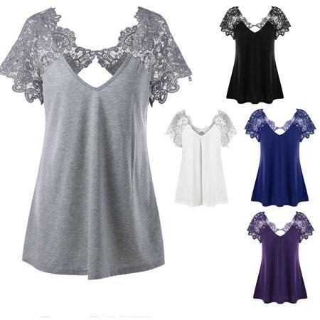 Plus Size Cutwork Lace Trim T-Shirt - Cutwork Lace