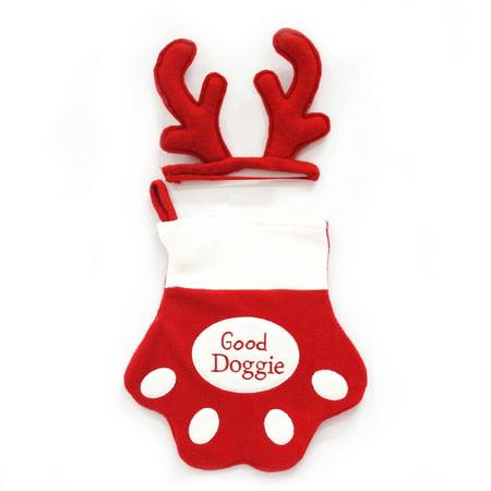Generic Holiday Time Christmas Decor Pet Stocking and Headband Set