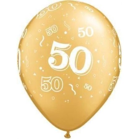 50th Balloons (Age 50-A-Round 50th Birthday/Anniversary Gold 11 Latex Balloons x 10 by, By)