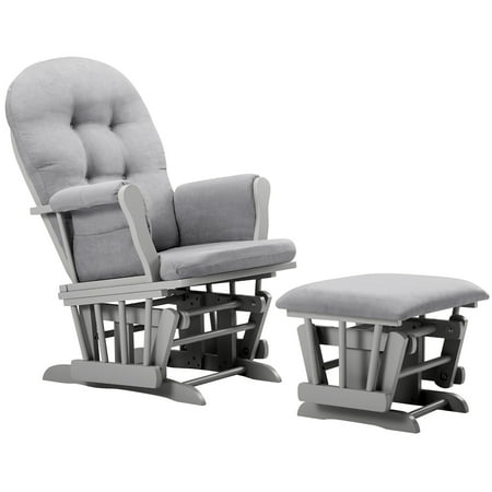 Angel Line Windsor Glider and Ottoman, Gray w/ Gray Cushion Adult Club Glider Ottoman