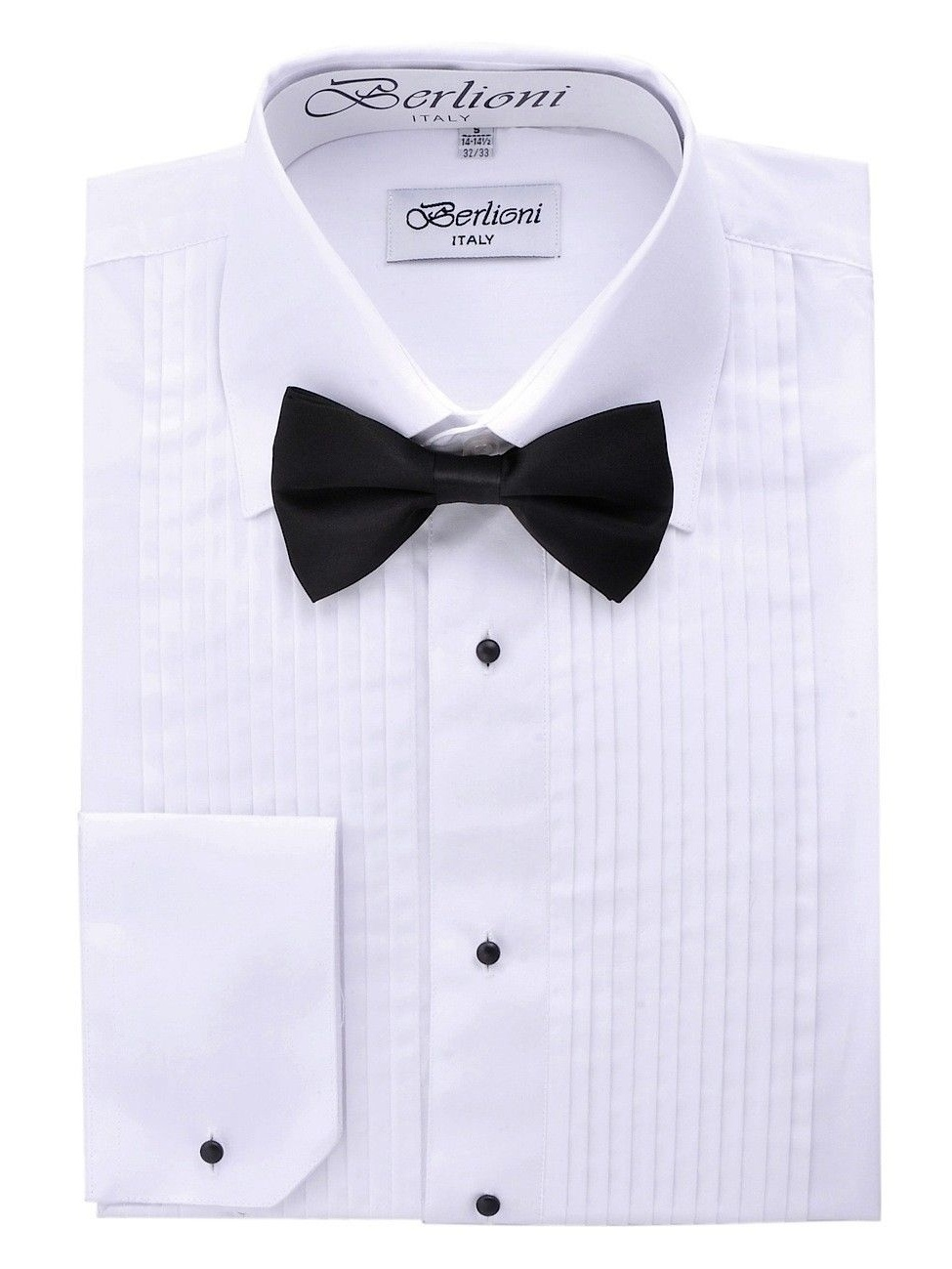 Berlioni Men's Long Sleeve Tuxedo Laydown Collar W/ Bow-tie Dress Shirt White