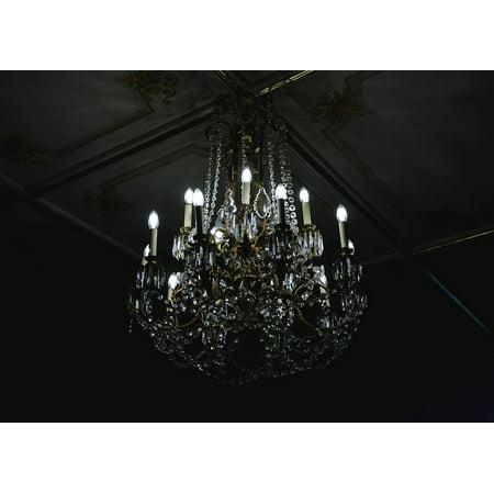 Canvas Print Light Decoration Glass Illuminated Chandelier Dark Stretched Canvas 10 x 14 - Chandelier Decoration