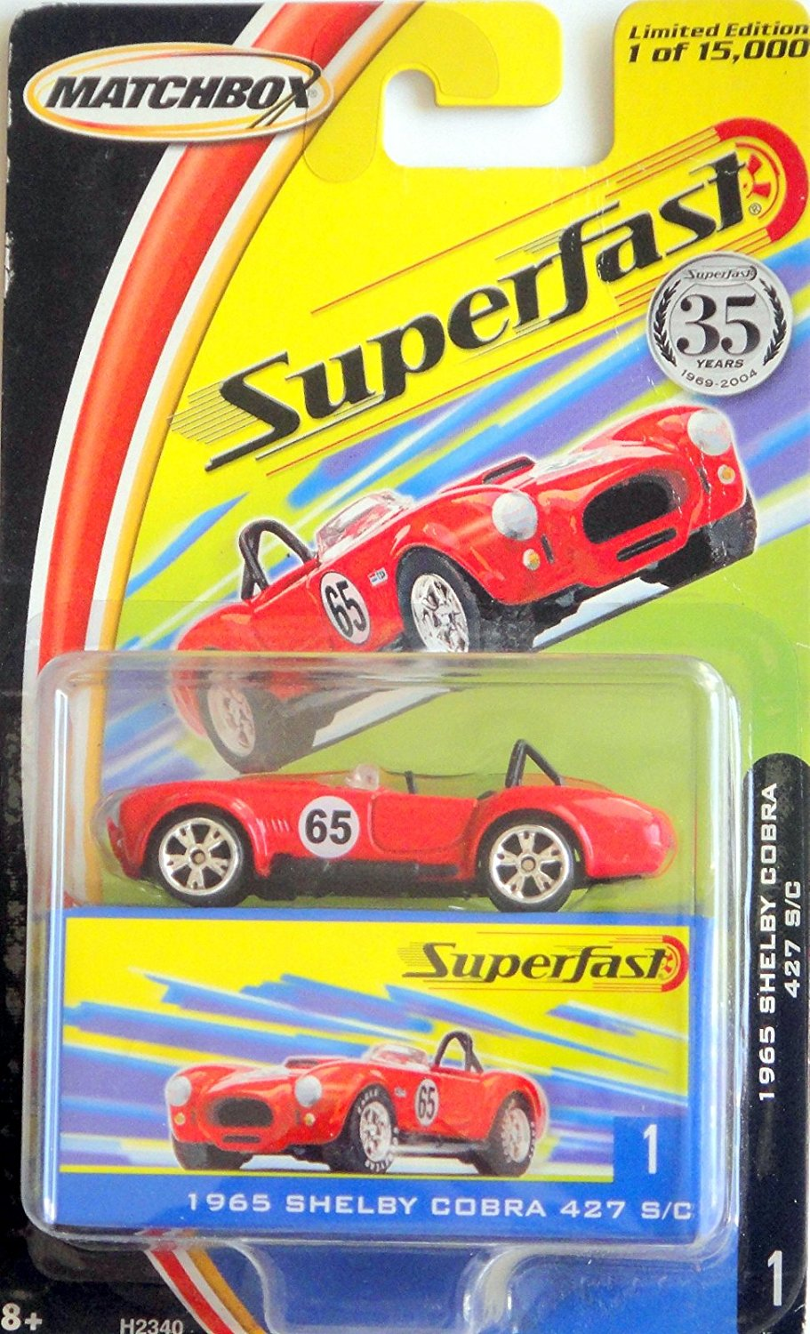 2004 Superfast 35 Years 1965 Shelby Cobra 427 S C No1, 1 64 scale By Matchbox by