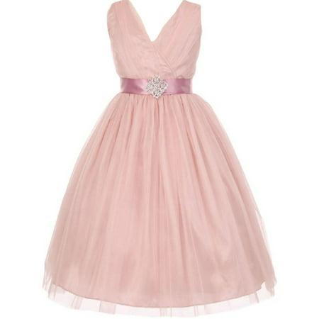 Little Girls Sleeveless V Neck Tulle Rhinestone Party Birthday Flower Girl dress Blush Size 2