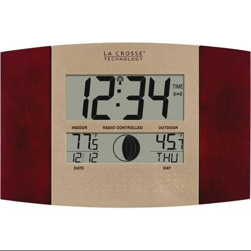 La Crosse Technology LCRWS8117UITCM La Crosse Technology Digital Atomic Wall Clock with Indoor and Outdoor Temperature
