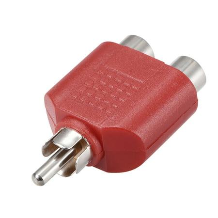 RCA Male à 2 RCA Femelle Séparateur Rouge 4Pcs Stéréo Audio Video Cable Convert - image 2 de 3