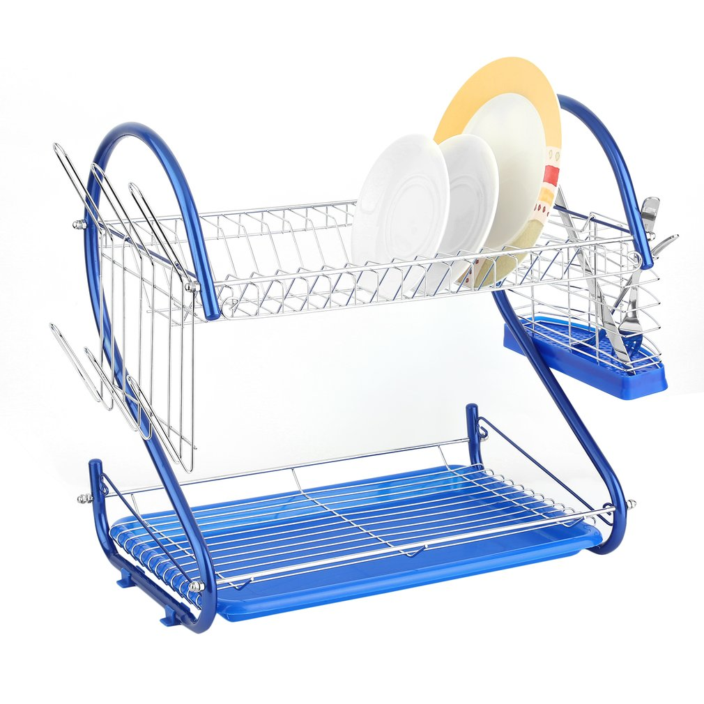 Stainless Steel 2 Tiers Quick Dry Antirust Dish Cup Rack Drainer Plates Holder  sc 1 st  Walmart : plates holder - pezcame.com