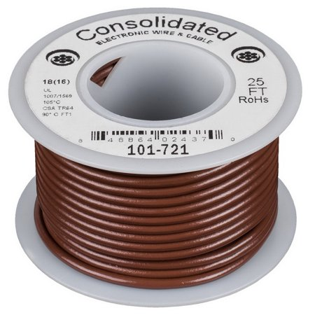 Consolidated Stranded 18 AWG Hook-Up Wire 25 ft. Brown UL Rated ...