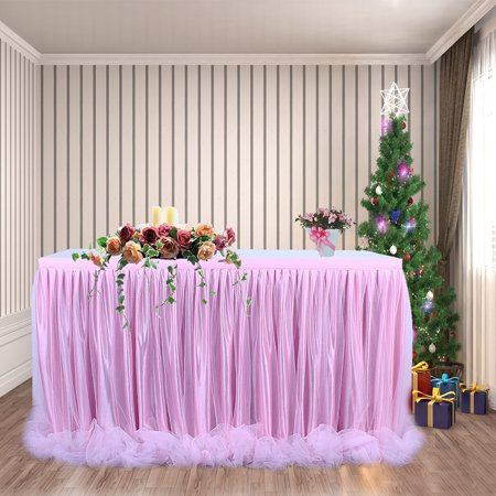 Threaded Ribbon Table Skirt with Tulle Elegant Party Wedding Table Decoration(Long Tulle) - image 3 de 6