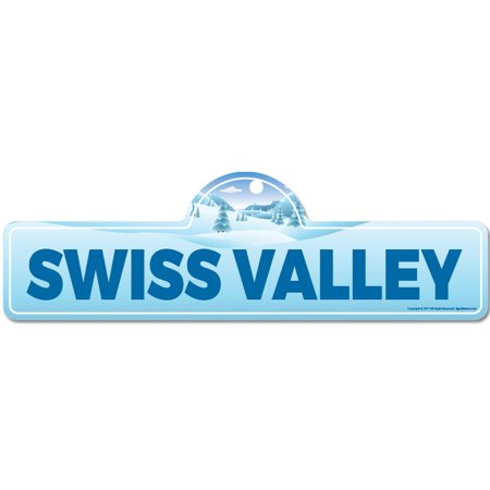 Sigg Swiss - Swiss Valley Street Sign   Indoor/Outdoor   Skiing, Skier, Snowboarder, Décor for Ski Lodge, Cabin, Mountian House   SignMission personalized gift