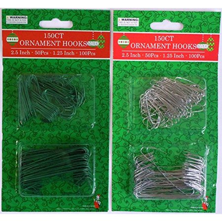 Silver and Green Ornament Hooks in 2 Sizes, Pack Of 300 (300, Green&Silver)