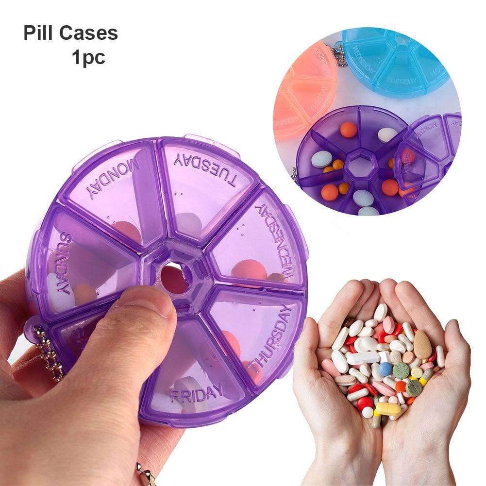 Heepo 7 Day Weekly Round Pill Box Medicine Tablet Dispenser Organizer Storage Case
