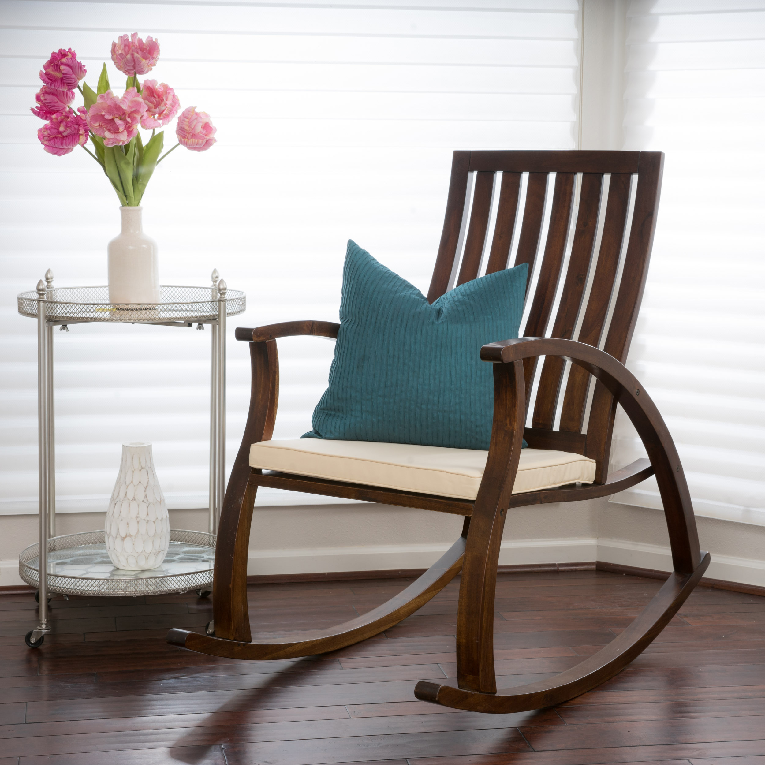 Chelsea Brown Mahogany Wood Rocking Chair With Cushion