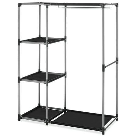 Whip Rack - Whitmor Spacemaker Garment Rack & Shelves Chrome & Black