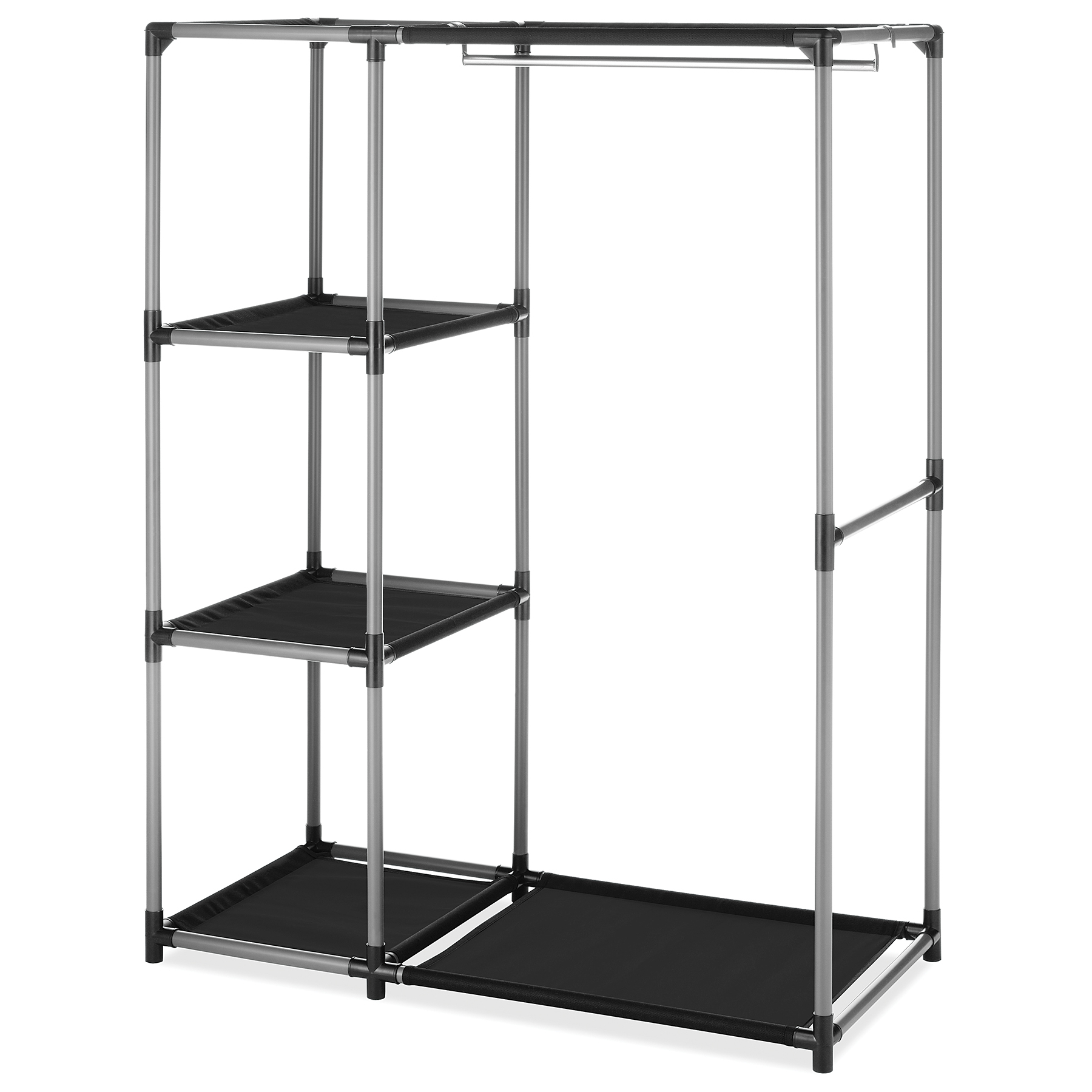 Whitmor Spacemaker Garment Rack & Shelves Chrome & Black
