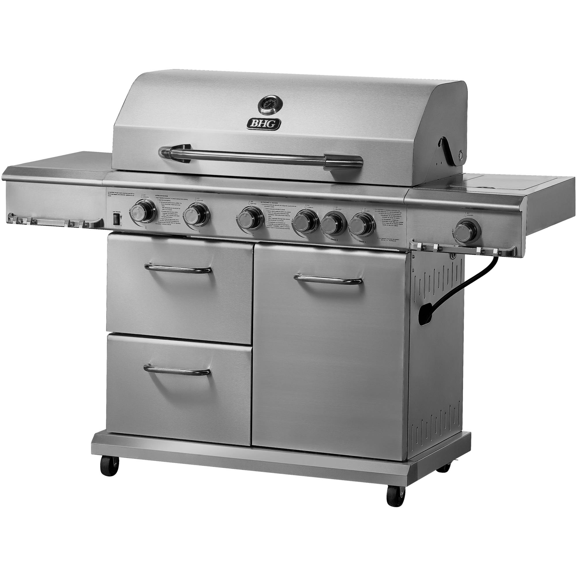 Better Homes and Gardens 6-Burner Gas Grill, Stainless Steel