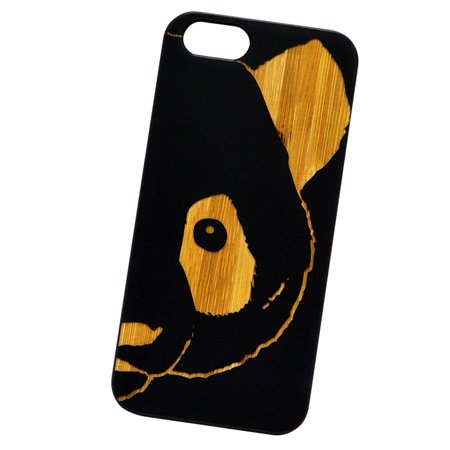 Big Panda Face   Laser Engraved Real Bamboo Cellphone Case Natural Protection Pc Rubberized Corners For Iphone 5C
