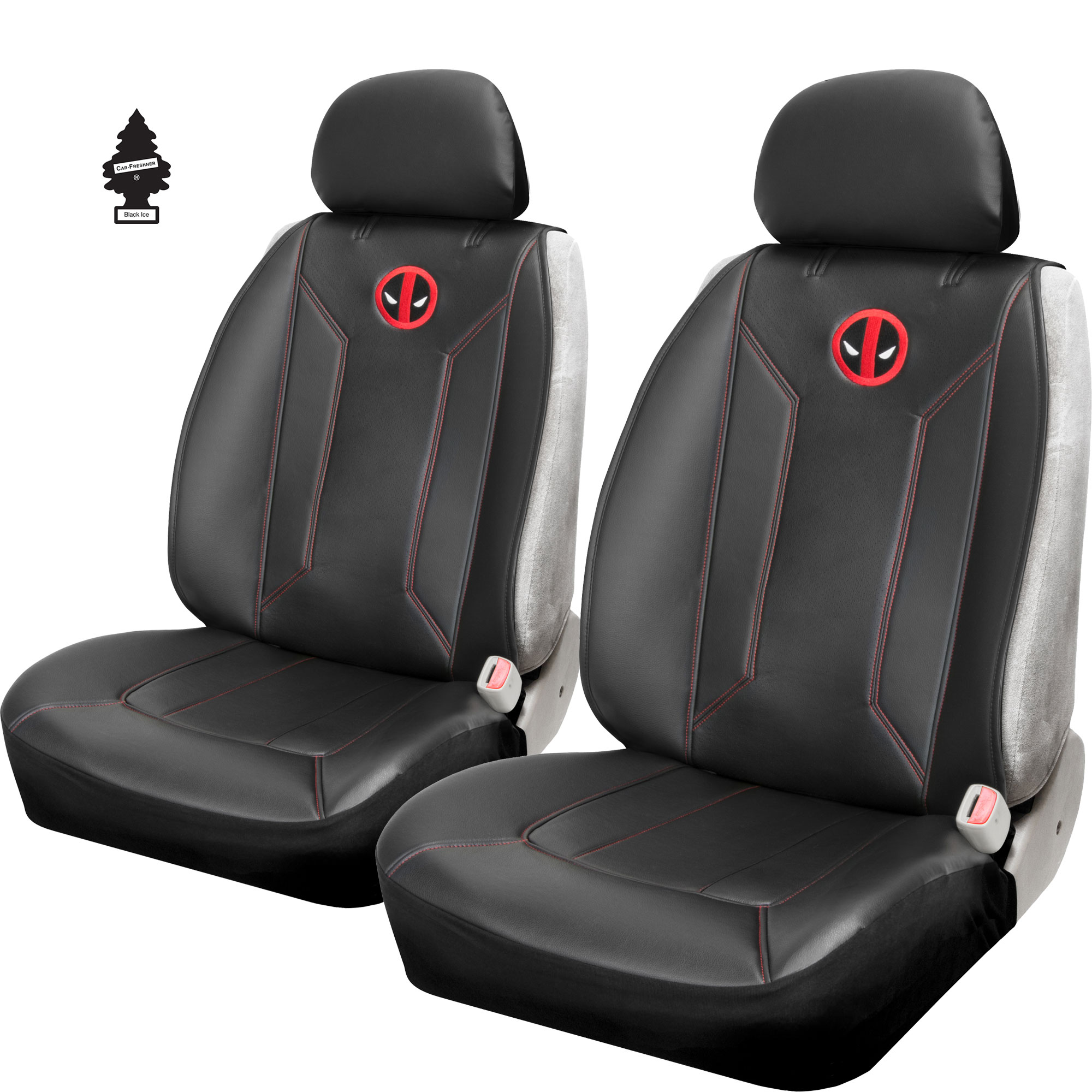 New Pair of Marvel Deadpool Logo Universal Sideless Car Truck SUV Seat Cover and Air Freshener