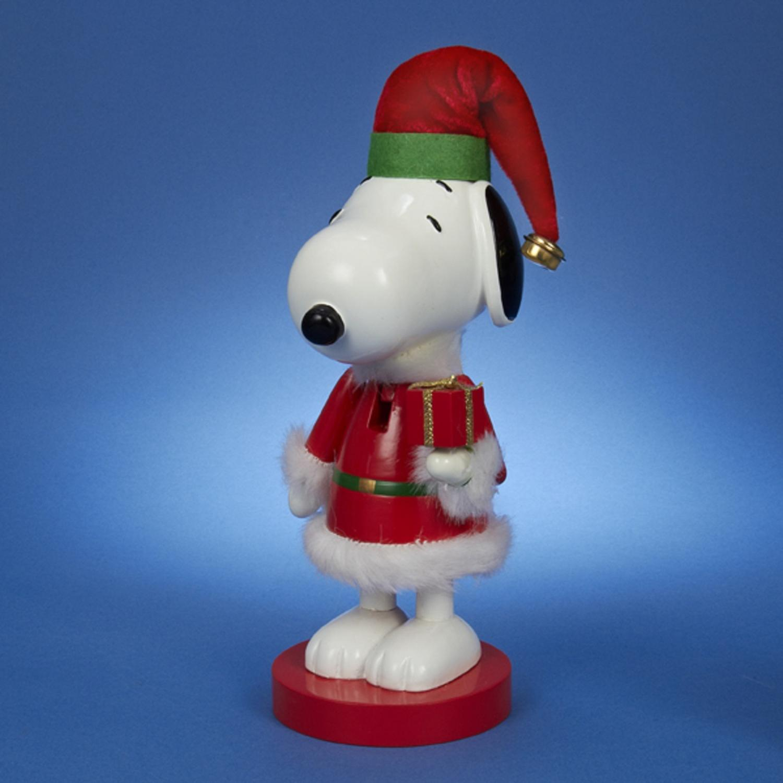 "10"" Peanuts Snoopy in Red Santa Suit Decorative Christmas Nutcracker"