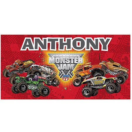 Personalized Monster Jam Madness Beach Towel