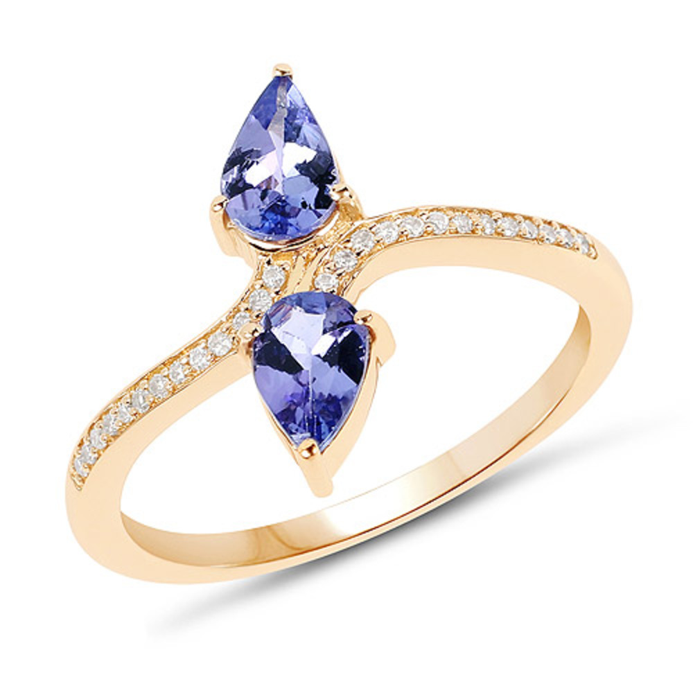 Genuine Pears Tanzanite and Diamond Ring in 14k Yellow Gold Size 7.00 by Bonyak Jewelry