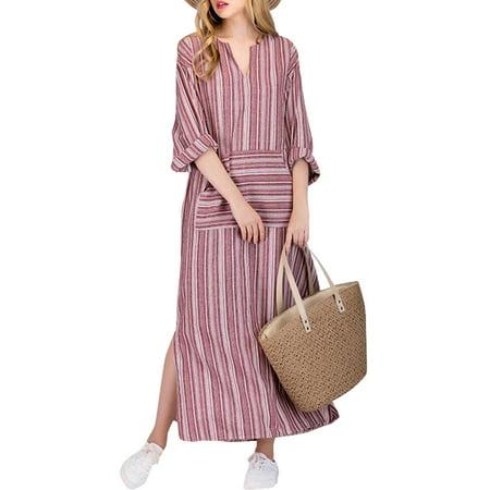 Striped V-neck Dress (Women's Loose Causal V-Neck Long Sleeve Striped Cotton)