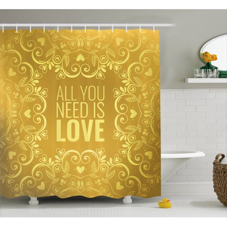 Gold Mandala Shower Curtain  Romantic Floral Round Figures Hearts Quote In Love Valentines Day Theme Doodle  Fabric Bathroom Set With Hooks  69W X 84L Inches Extra Long  Gold  By Ambesonne