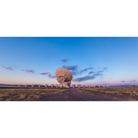 - March 17 2013 - The Very Large Array radio telescope in New Mexico at sunset The Earths shadow rising at right and the pink Belt of Venus is along the eastern horizon Poster Print