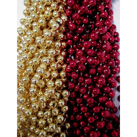 49ers 1 dozen Red Gold Superbowl Mardi Gras Party Favors Football Beads Tailgate (Super Bowl Party Decorating Ideas)