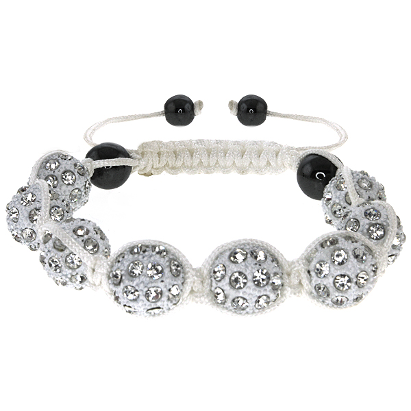 13mm High Quality Adjustable Bracelet with Heavy White Disco Beads