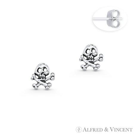 Skull & Crossbone Gothic Charm Stud Earrings in Oxidized .925 Sterling Silver
