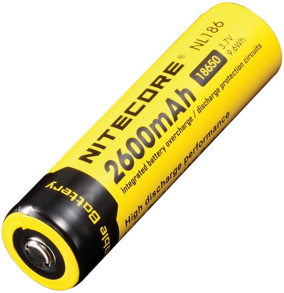 Nitecore 18650 Battery, 2600mAH NL186 Multi-Colored