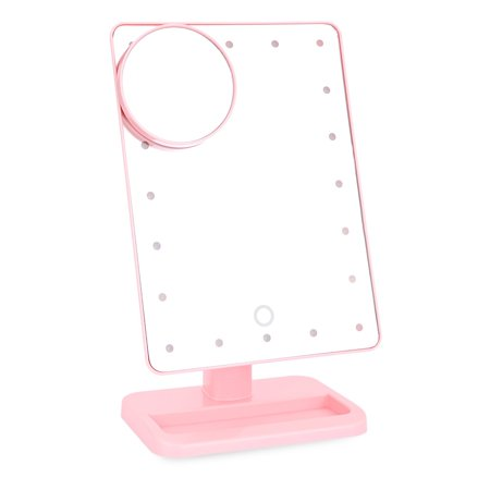 Beautify Beauties Lighted Makeup Mirror - Vanity Mirror. 20 LED Bulbs, Adjustable Brightness, Detachable 10X Magnification Spot Mirror. Batteries Included (Pink)