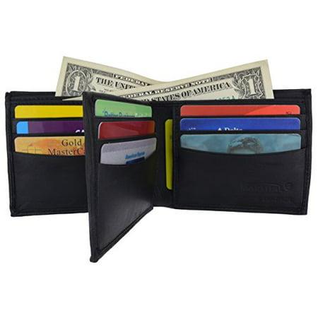 Leather Flap Over Card Case - Bifold Men's Genuine Leather Center Flap Multi Card Holder Wallet NEW (Black)