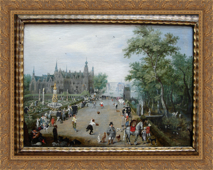 A Game of Handball with Country Palace in Background 36x28 Large Gold Ornate Wood Framed Canvas Art by Adriaen... by FrameToWall