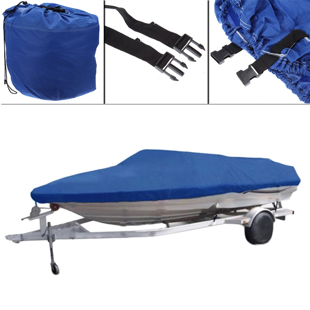 17' 18' 19' Trailerable Fish Ski Boat Cover 600D V-Hull Weather Boat Bag Blue by