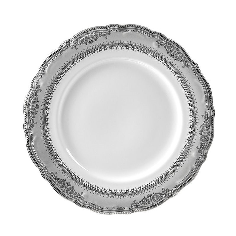 Traditional Dinner Plate in White and Silver - Set of 6