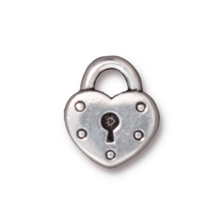 Fine Silver Plated Pewter Heart Lock Keyhole Charm 16.3mm (1)