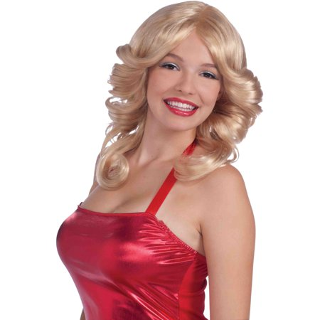 70s Costume Blonde Funky Disco Angel Angle Long Curly Wig - Cubby Costume