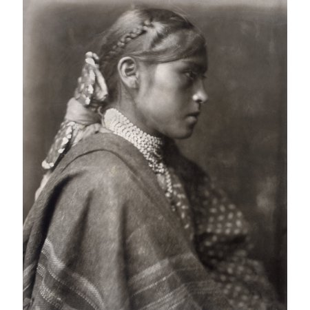 Apache Woman C1904 Nsigesh An Apache Woman Photograph By Edward Curtis C1904 Rolled Canvas Art     24 X 36