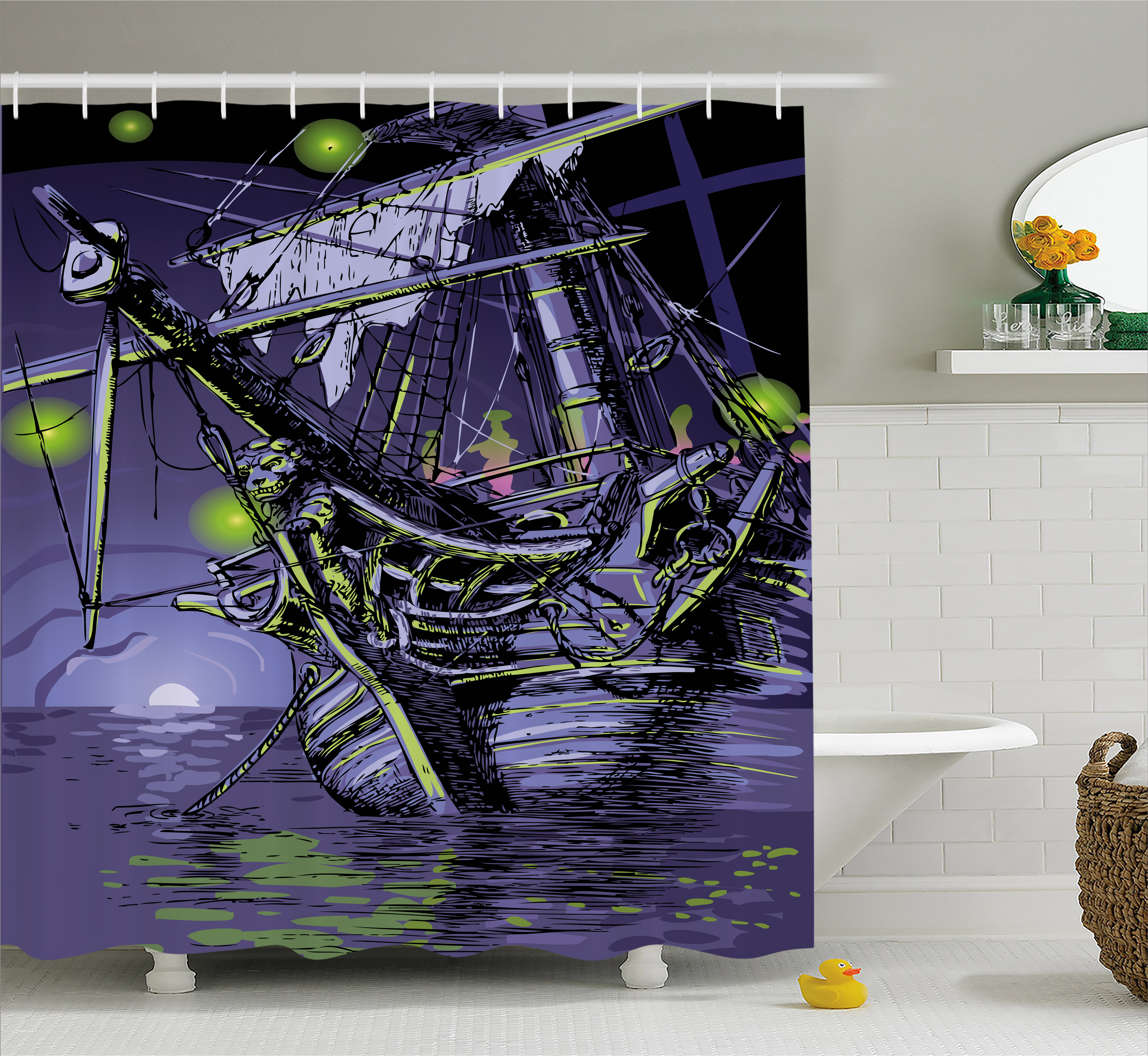 Pirate Ship Shower Curtain, Ghost Ship On Fantasy Caribbean Ocean Adventure  Island Haunted Vessel,