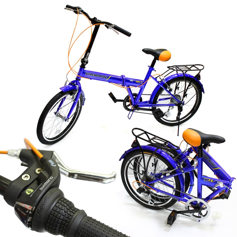 "20"" Folding Bike 6 Speed Bicycle Fold Storage School Sports Shimano, Blue"