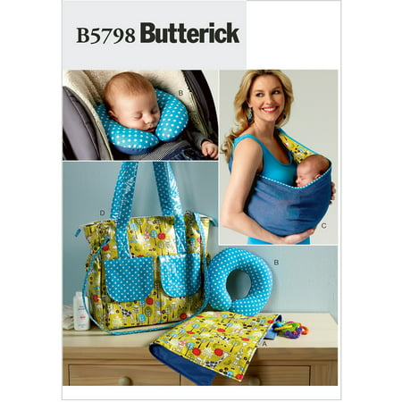 Butterick Pattern Baby's Changing Pad, Neck Support, Carrier and Diaper Bag, 1 Size Baby Sewing Patterns