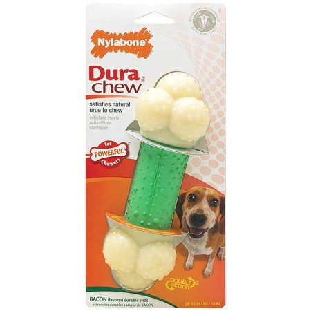 Nylabone Dura Chew Bacon Flavored Double Action Bone Dog Chew Toy, Wolf Nylabone Durable Bacon Flavor Bone